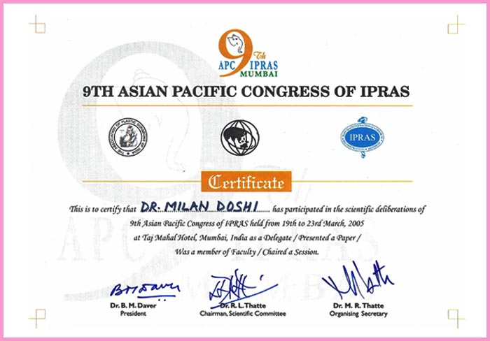 9th Asian Pacific Congress of IPRAS - Dr Milan Doshi