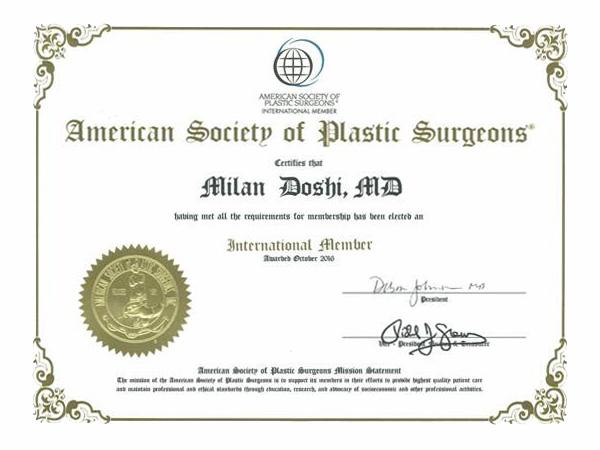 ASPS American Society of Plastic Surgeons Dr Milan Doshi