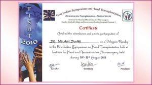 1st-indian-symposium-on-hand-transplantation-certificate-dr-milan-doshi-mumbai-india
